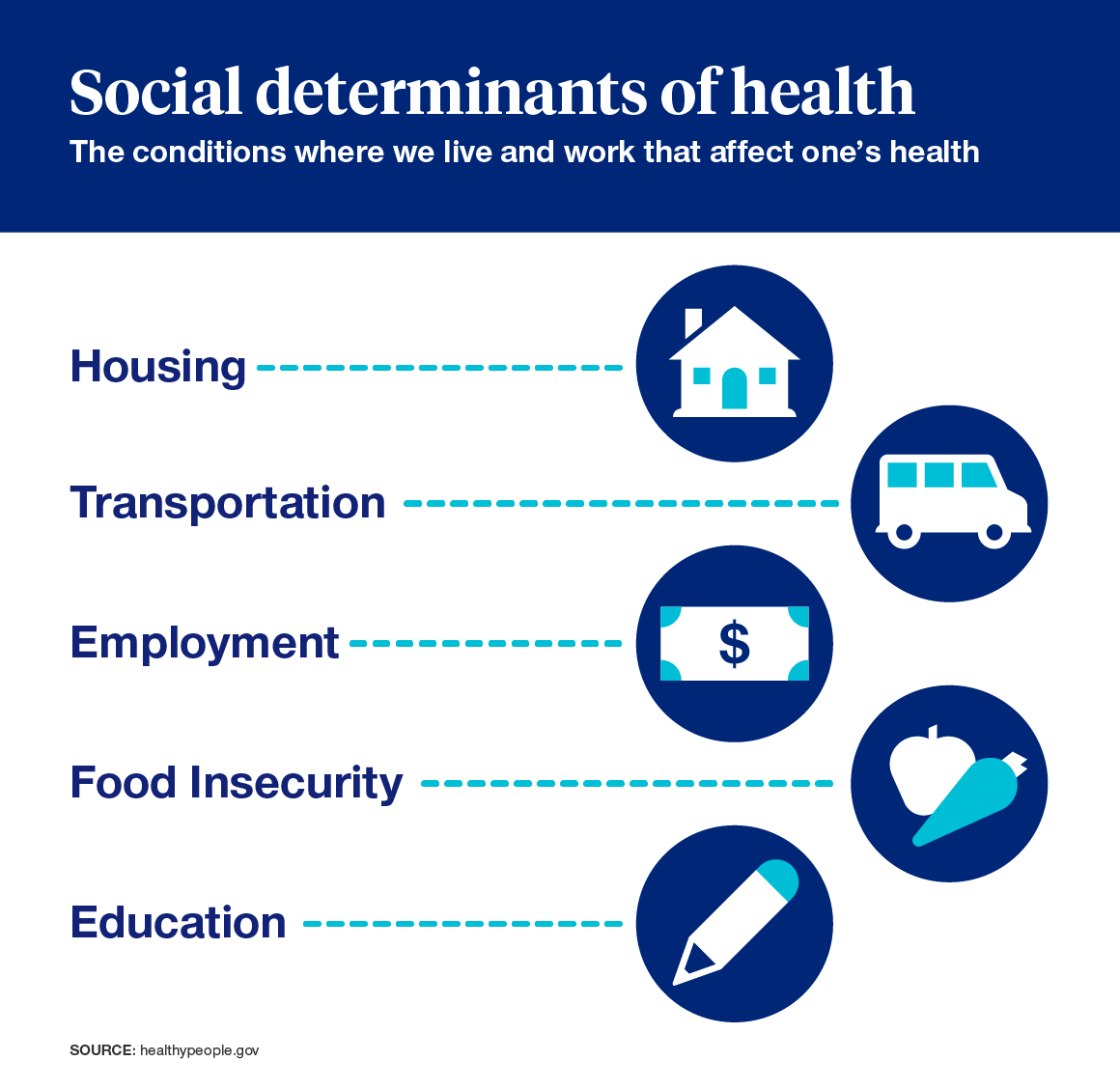 Infographic: Housing, transportation, employement, food insecurity, education